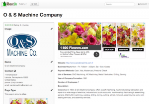 AboutUs Business Directory Submission | O&S Machine Company